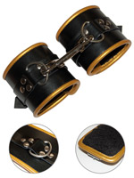 Golden Padded Leather Restraint Cuffs