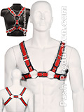 Scottish Zipper Design Leder Harness - Rot/Schwarz